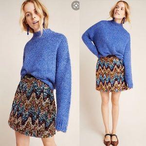 NWT Anthropologie Zig zag Sequined mini skirt